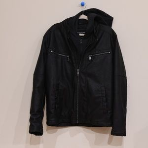 Andrew Marc Black Hooded Double Zip Leather Coat
